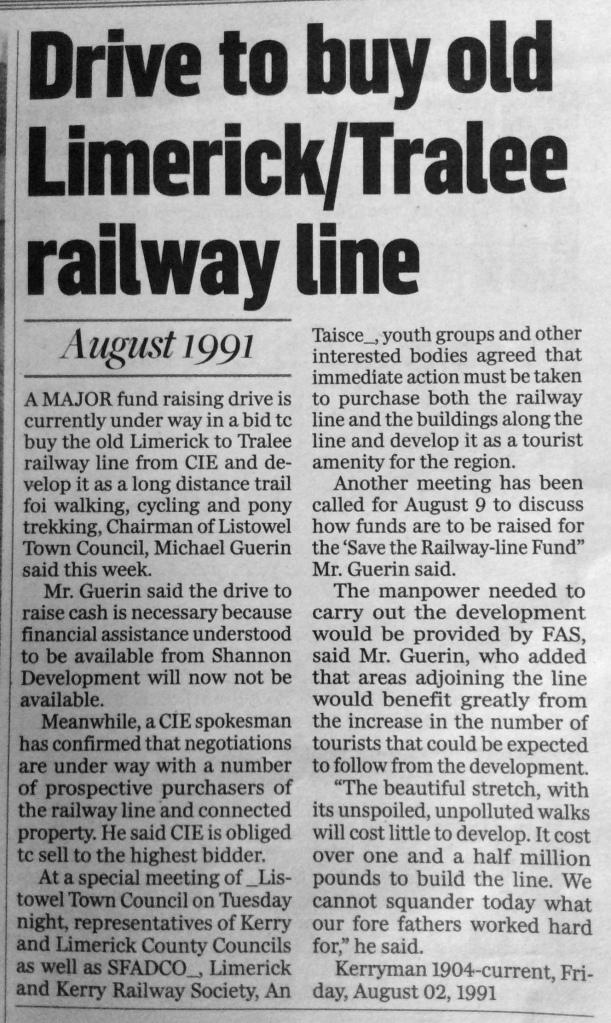 Drive to buy railway line 1991